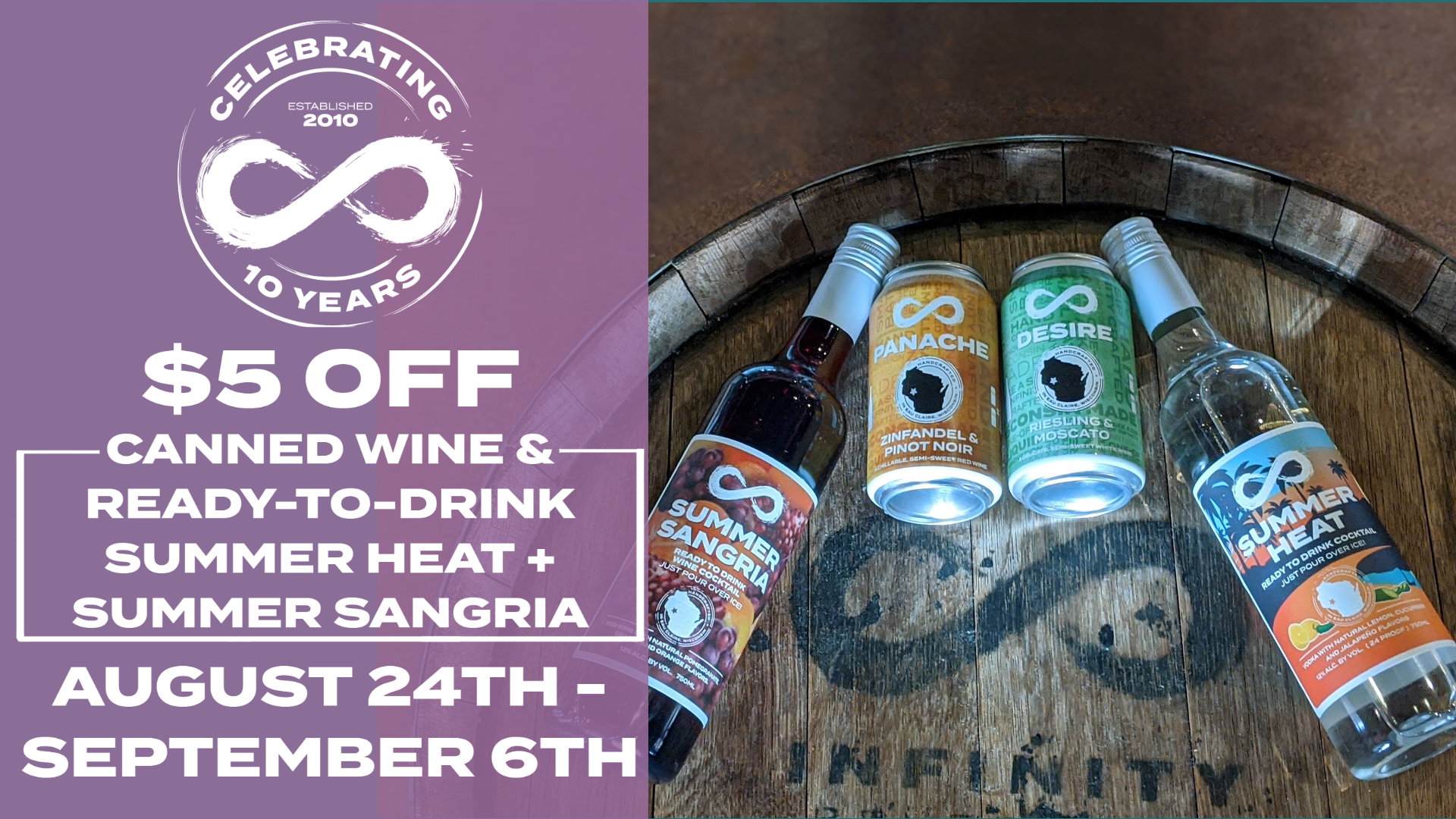 $5 OFF CANNED WINE & READY-TO-DRINK SUMMER HEAT + SUMMER SANGRIA
